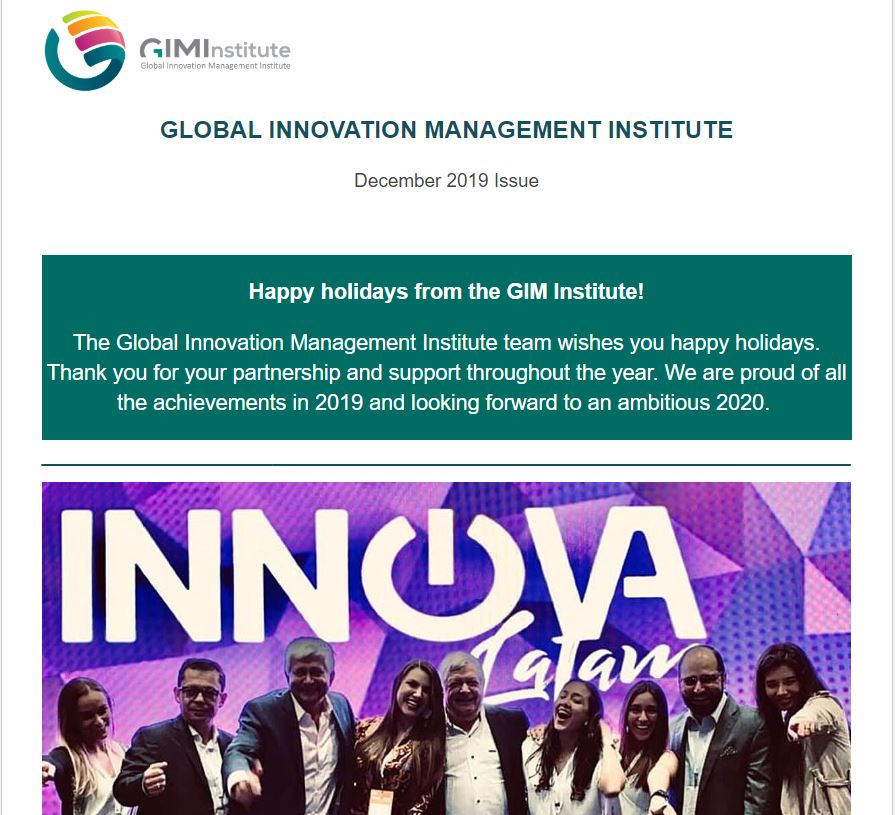 December 2019 Global Innovation Management Institute